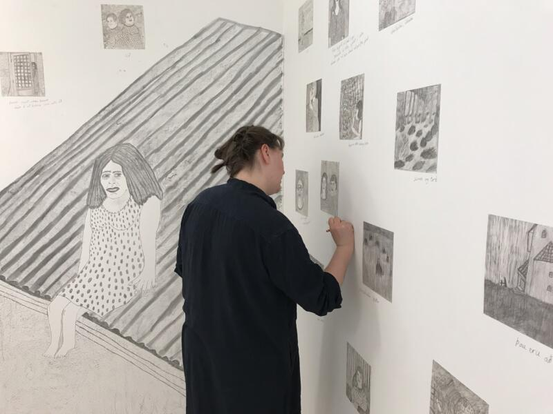 Artist Drawing The Instalation About People